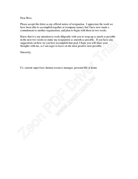 Letter Of Resignation Two Weeks Notice Pdf Letter Of Resignation 2 Weeks Notice With Resignation