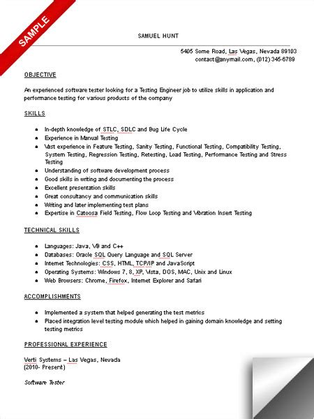 Test Engineer Sle Resume by Test Engineer Resume Sle