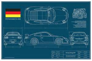 Porsche 911 Dimensions Porsche Gt3 911 Type 997 Drawing By Douglas Switzer