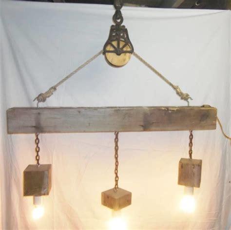 Wood Beam Light Fixture Beam Wood Light Fixture And Pulley Pendant Light Id Lights
