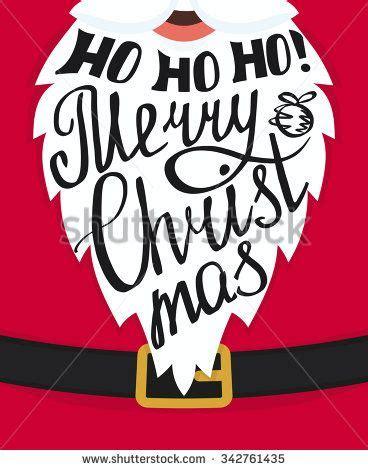 Kaos Santa Mustache Ho Ho Ho ho ho ho merry handmade lettering on the santa claus white beard greeting card