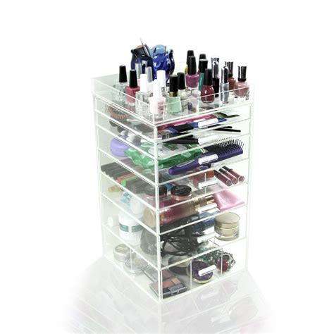 clear makeup organizer with drawers acrylic makeup organizer 7 drawers clear cosmetic cube