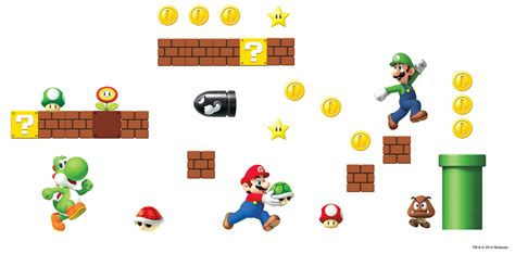 mario bros stickers wall nintendo mario bros build a wall stickers