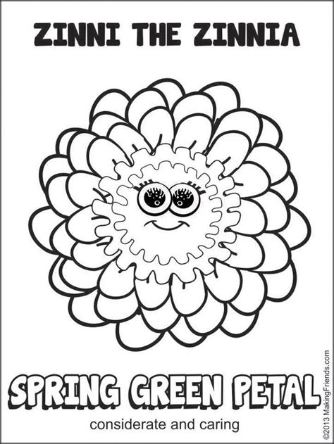 zinnia flower coloring page girl scout daisy spring green petal zinni the zinnia