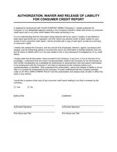 Financial Covenant Waiver Letter Authorization Waiver And Release For Employee Credit Report Template Sle Form Biztree