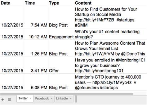 Social Media Calendar Template Google Sheets