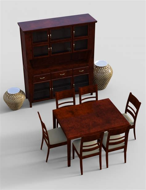 Four Furniture by Furniture Set 4 Typical Dining Furnitures 3d Models And