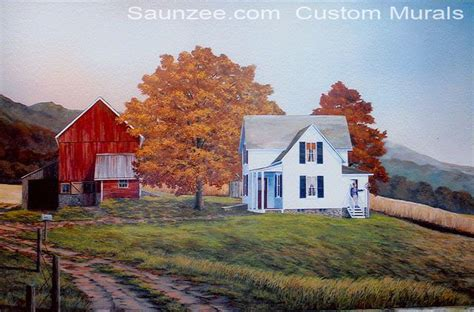 country farm paintings with barn saunzee signs murals