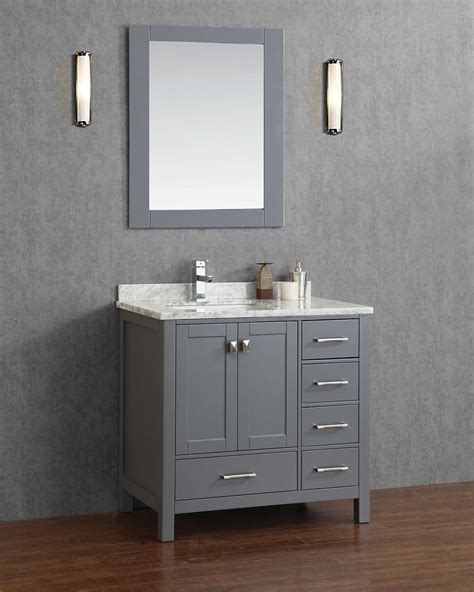 Grey Bathroom Vanity Cabinet Buy Vincent 36 Inch Solid Wood Single Bathroom Vanity In Charcoal Grey Hm 13001 36 Wmsq Cg