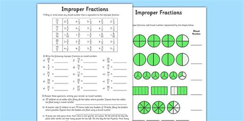 Improper Fractions Worksheet