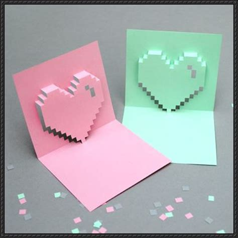 Paper Craft Cards - s day pixel pop up card papercraft