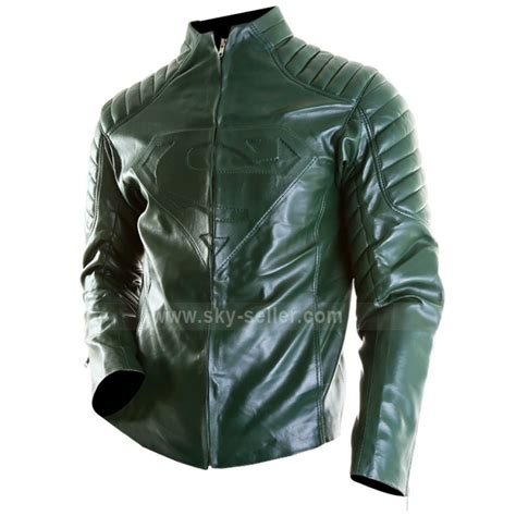 new superman green leather jacket for
