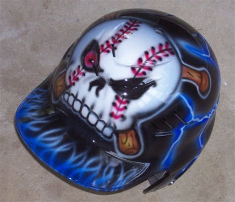 design baseball helmet airbrushed batting helmet baseball skull and bats new