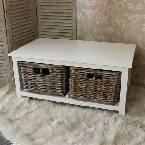White Coffee Table With Baskets White Wood Coffee Table With Wicker Baskets Melody Maison 174