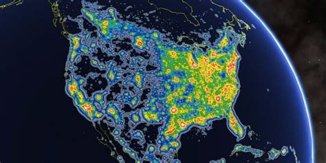 map lights cities with the most light pollution business insider