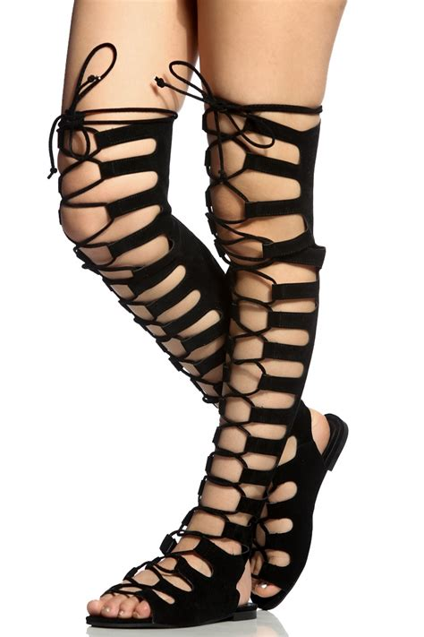 thigh high sandal boots black faux suede lace up thigh high sandals cicihot