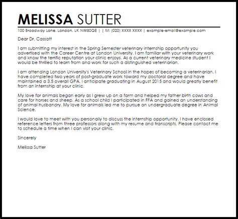 Veterinary Letter Of Intent Sle Veterinary Internship Letter Of Intent Livecareer