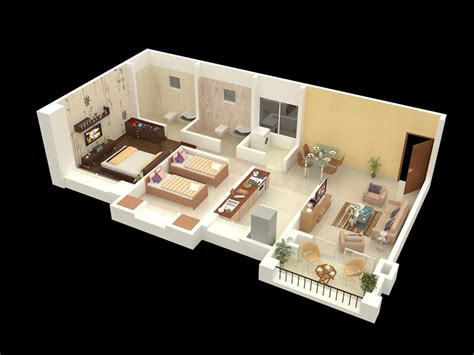 home design 2bhk home interior design for 2bhk flat isometric design