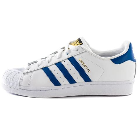 adidas superstar foundation kids trainers  white blue