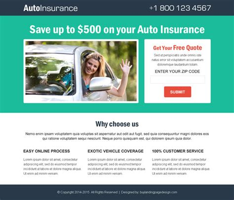 Beautifully Designed Best Converting Landing Page Design 2015 Insurance Responsive Website Template Free
