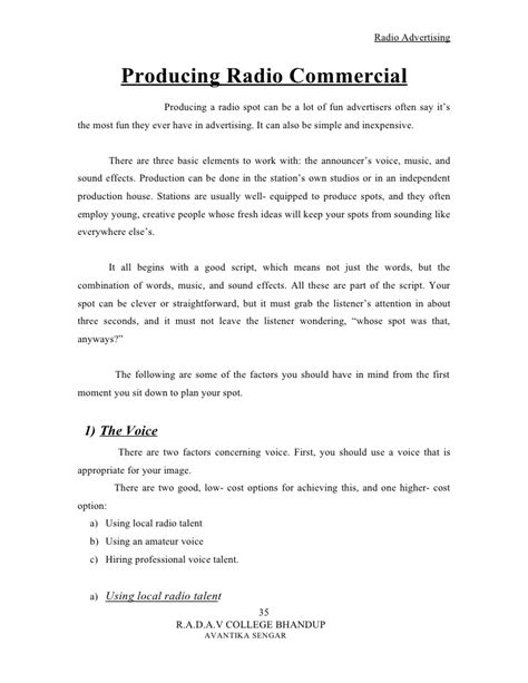 Radio Advertising Template by Radio Advertising Template Resume Cv Cover Letter