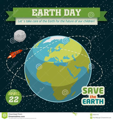 Earth Day Holiday Poster Stock Vector - Image: 39561478