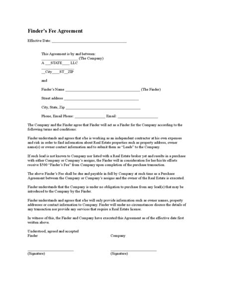 fee agreement template finders fee agreement 3 legalforms org