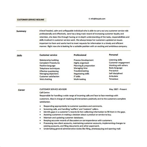 Resume Summary For Customer Service by 11 Customer Service Resumes To Sle Templates