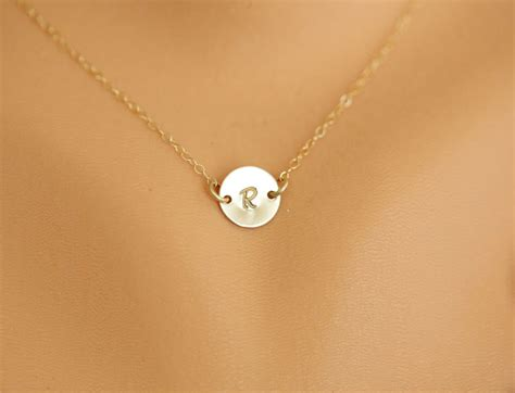 jewelry daily monogram necklace personalized gold initial disc charm