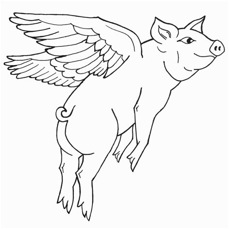 free coloring pages of flying pigs
