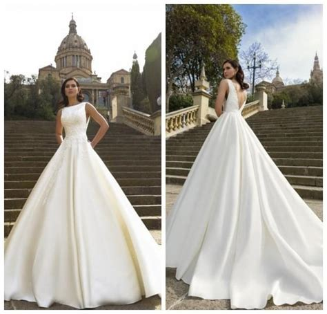 Vintage White Sleeveless Wedding Dresses Satin Court Train