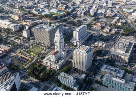 City Of Los Angeles Records Aerial View Of Los Angeles Civic Center With Snow On San Gabriel Stock Photo Royalty