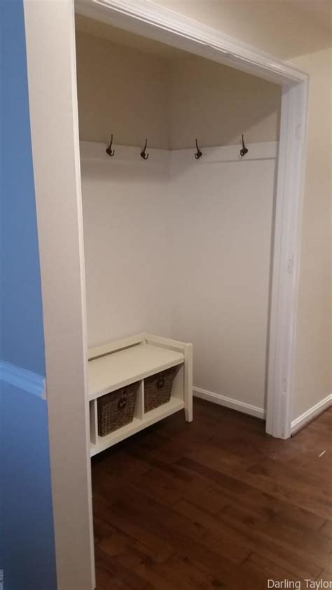 Closet Turned Mudroom by How To Turn A Closet Into A Mudroom For Less Than 30