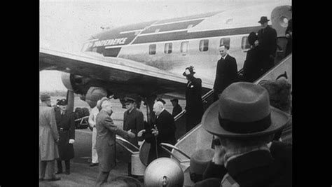 washington dc 1952 winston churchill is greeted by president truman as he steps of the plane