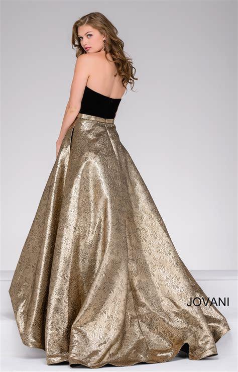 jovani  velvet strapless top   metallic skirt