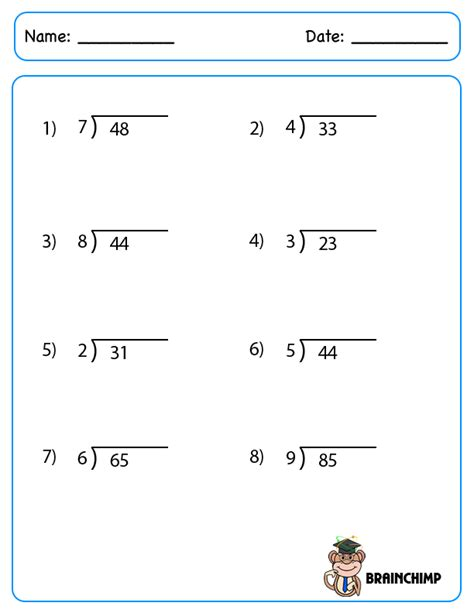printable simple division worksheets basic division worksheets new calendar template site
