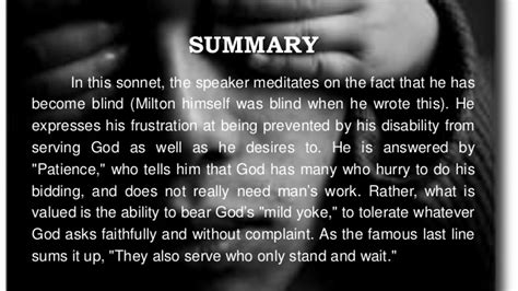 On His Blindness By Milton Summary Sparknotes on his blindness by milton