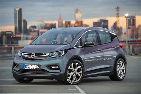 opel chevrolet opel electric vehicle rendered based on chevy bolt as gm