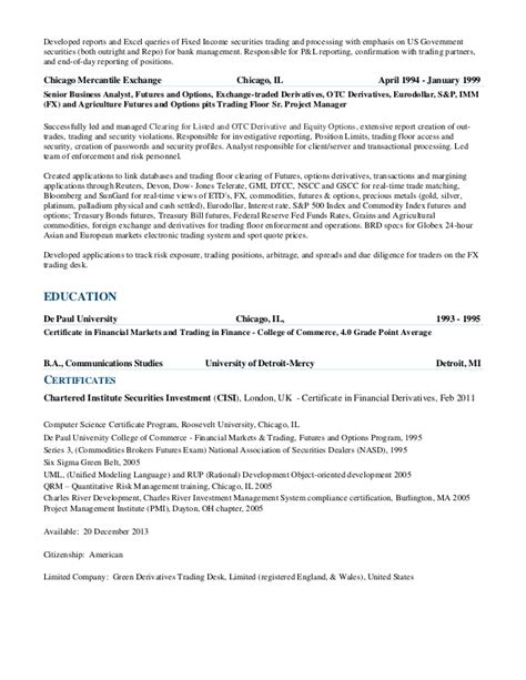 Derivative Trader Cover Letter by Philip Green Cv