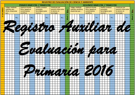 registro auxiliar 2do grado de primaria 2016 registro auxiliar de evaluaci 243 n 2016 nivel primaria
