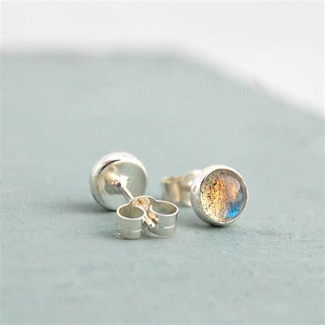 Handmade Stud Earrings - handmade labradorite gemstone stud earrings by alison