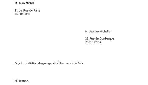 Résiliation De Location Lettre Modele Lettre Preavis Location Garage Document