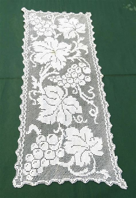 Dresser Scarves And Doilies by Vtg Handmade Filet Lace Doily Runner Grapes Dresser Scarf