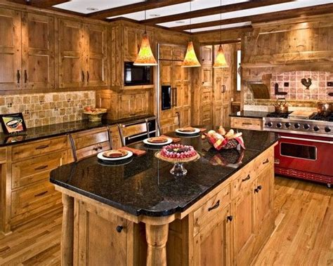 traditional kitchen  knotty pine cabinets black