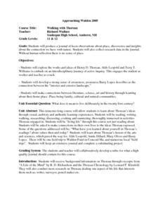 Walden Worksheet