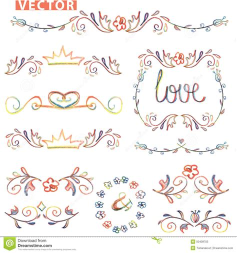 doodle how to use doodle decor border set colored watercolor pencil stock