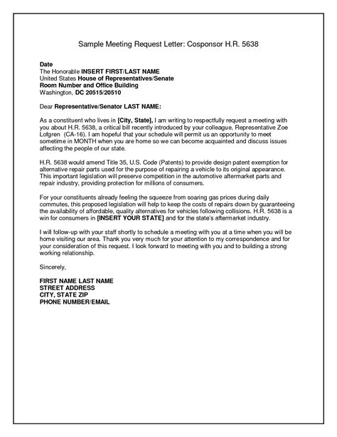 letter sle business format request meeting letters
