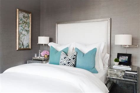 silver and teal bedroom mirrored nightstand contemporary bedroom carlyle designs
