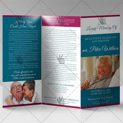 printable funeral program premium tri fold brochure psd