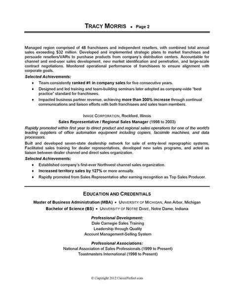 Resume Sles Internship Careerperfect 174 Sales Management Sle Resume